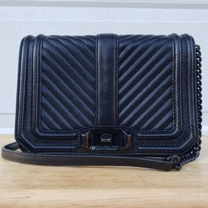 Rebecca Minkoff Small Love Chevron Crossbody Black